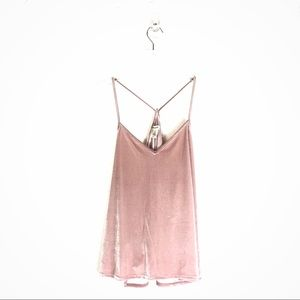 madewell • strappy light pink velvet tank top xl